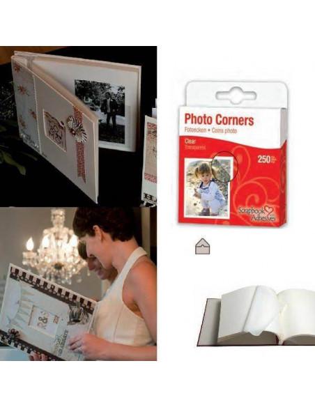 ESQUINAS TRANSPARENTES PARA SUJECION DE FOTOS 250 PIEZAS