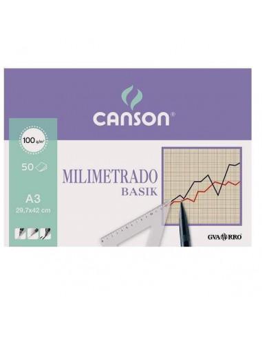 BLOC DE LAMINAS A3 BASIK MILIMETRADO 100 GR.