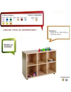 MUEBLE HAYA DE GUARDERIAS CON 6 CASILLAS 90 X 76.5 X 40 CM