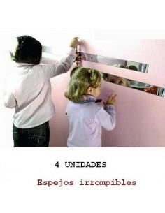 TIRAS O CENEFAS DE ESPEJO IRROMPIBLE DE 100 X 5 CM. 4 UNIDADES