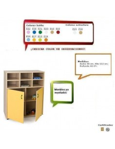 MUEBLE CASILLERO PARA GUARDERIAS CON 4 CASILLAS