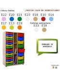 ESTANTERIA CON CUBETAS PARA AULAS ESCOLARES CON 3 ESTANTES 90 X 147 X 40 CM
