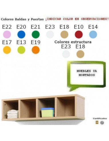 MUEBLE CASILLERO PARA GUARDERIAS CON 4 CASILLAS 80 X 22 X 28CM