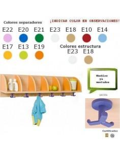CASILLERO CON PERCHAS ESCOLAR CON 6 CASILLAS 119 X 28 X 22CM