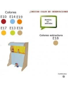 MUEBLE DE TEATRO CON MARIONETAS PARA COLEGIOS 90X131X65 CM ACABADO EN HAYA