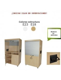 MUEBLE TELEVISION Y VIDEO PARA CENTROS ESCOLARES CON PERSIANA 110 X 185 X 65 CM