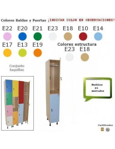 TAQUILLA DE 2 PUERTAS DE MADERA PARA COLEGIOS 40 X 195 X 50 CM
