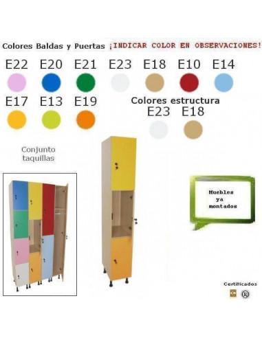 TAQULLERO DE 3 PUERTAS PARA CENTROS ESCOLARES 40 X 195 X 50 CM