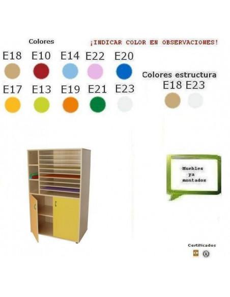 ARMARIO DE CARTULINAS PARA COLEGIOS CON PUERTAS 90 ZX 147 X 53 CM