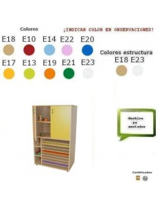 MUEBLE DE CARTULINAS CON ARMARIO PARA COLEGIOS 90X147X53 CM