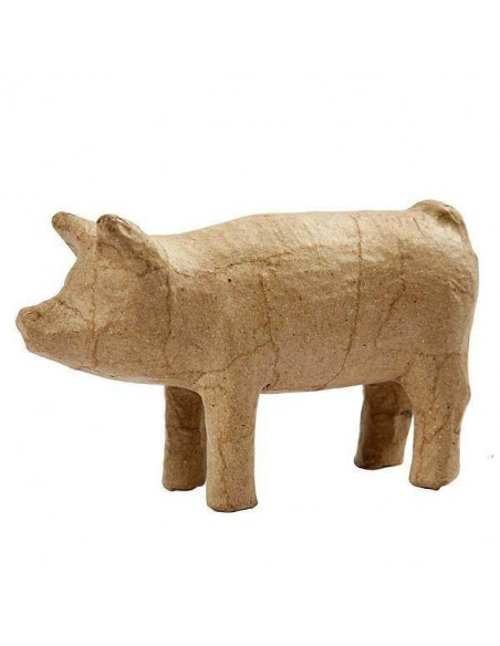 ANIMAL DE PAPEL MACHE CERDITO DE 8 CM 1 UNIDAD