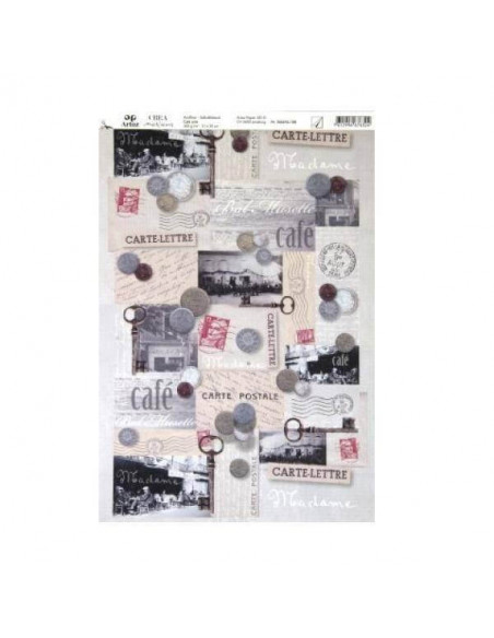 MANUALIDADES SCRAPBOOKING PAPEL ESPECIAL CAFE JOLIE 210 X 300 MM A4 200GM2