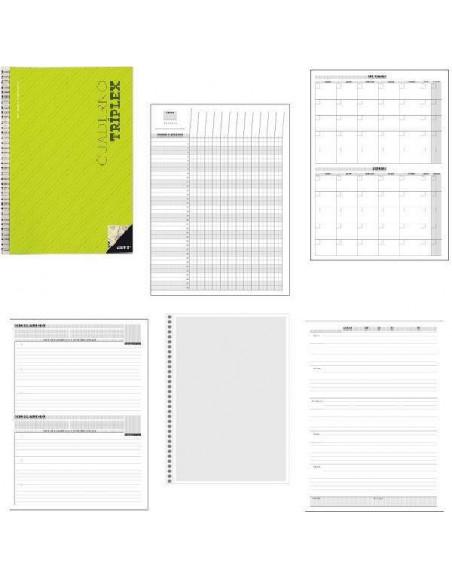 CUADERNO TRIPLEX PARA TUTORIA. EVALUACION Y AGENDA 22.5 x 31 CM 4 COLORES DISPONIBLES