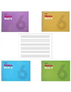 CUADERNOS DE MUSICA CON ESPIRAL BASIC 6 ADDITIO 21.5 X 15.5 CM PENTAGRAMA 9MM