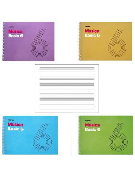 CUADERNOS DE MUSICA CON ESPIRAL BASIC 6 ADDITIO 21.5 x 15.5 cm PENTAGRAMA 9mm