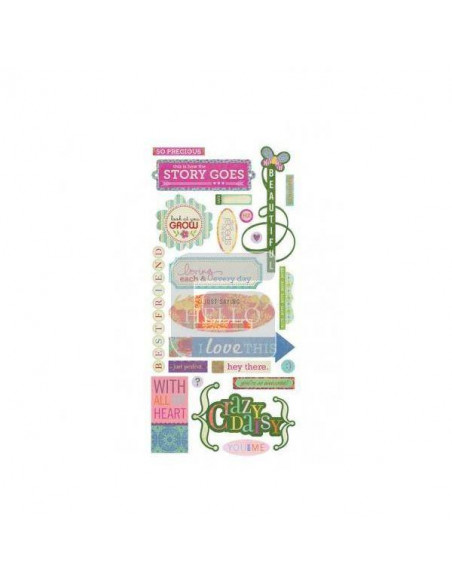 "STICKER SHAPES INDIE BLOOM 5"" X 12"" PARA SCRAPBOOKING"