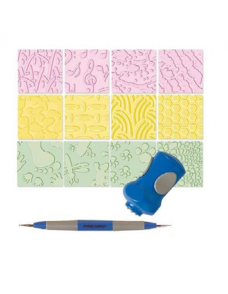 Set 6 placas de textura + estilete + herramienta de texturación