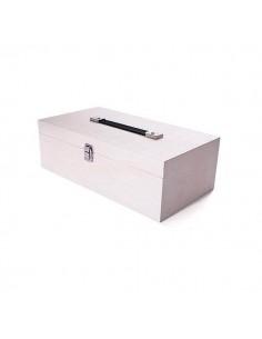 Caja madera para pinturas con asa 38x12x10cm.