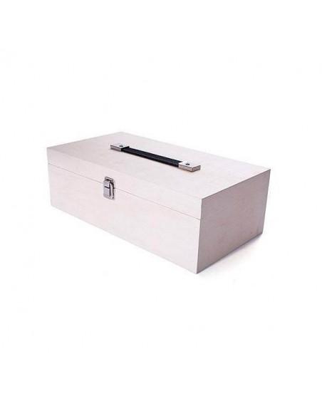 Caja de madera para pinturas con asa 38x12x10cm.