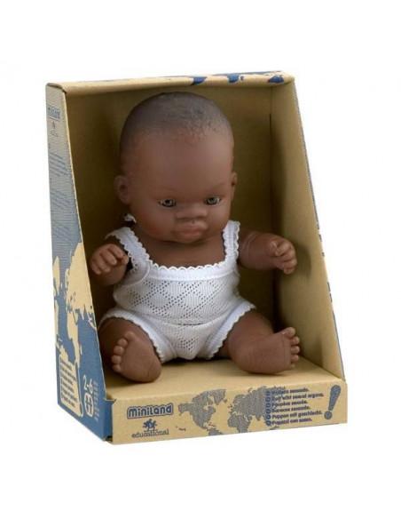 Muñeco niña africana de 21 cm en estuche