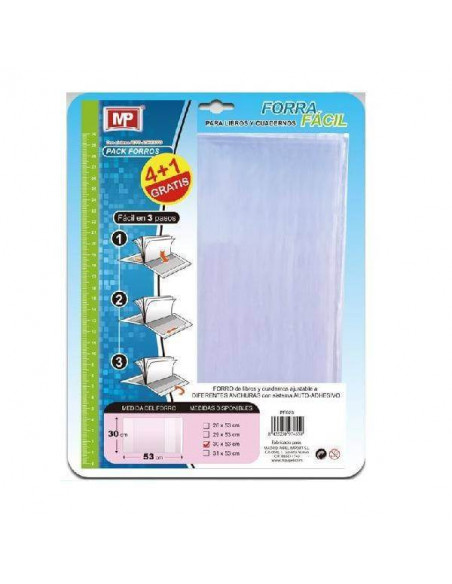 FORRO AJUSTABLE PARA LIBROS EXPRESS 30CM PACK 5 UND MP