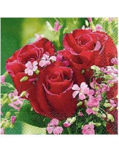 Servilleta ramo de rosas