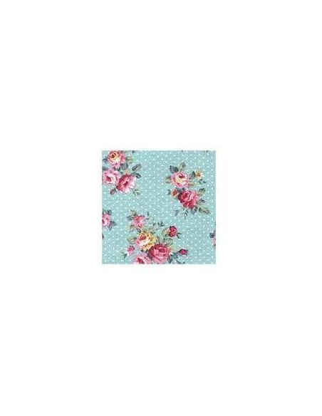 TEXTIL ESTAMPADO DE ALGODÓN LAMINA ADHESIVA A4 210 X 297 MM   FRENCH ROSE BLUE