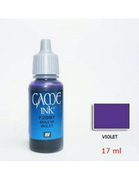 PINTURA ACRÍLICA GAME COLOR DE 17 ML MARCA VALLEJO E IDEAL PARA FIGURAS DE FANTASÍA COLOR VIOLETA