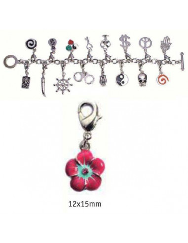 CHARMS CON CIERRE DE COLOR PLATA BLISTER 2 UND FLOR COLOR 12X15MM