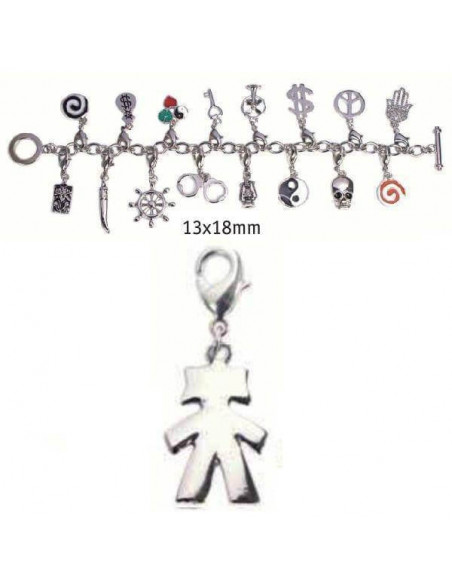 CHARMS CON CIERRE DE COLOR PLATA BLISTER 2 UND NIÑA 13X18MM