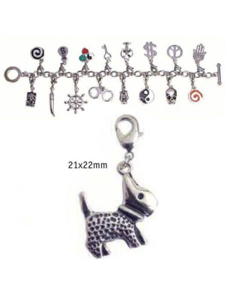 CHARMS CON CIERRE DE COLOR PLATA BLISTER 2 UND PERRITO 21X22MM