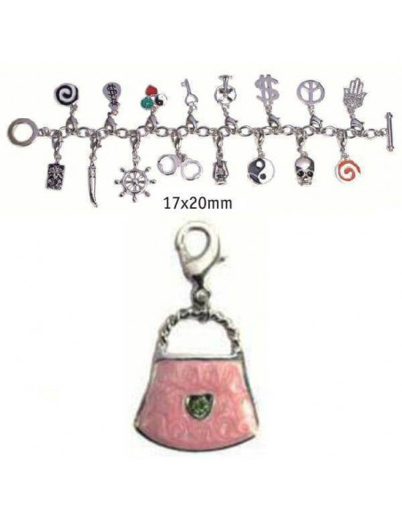CHARMS CON CIERRE DE COLOR PLATA BLISTER 2 UND BOLSO ROSA 17X20MM