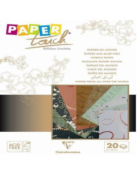 PAPELES DEL MUNDO CON DISTINTOS COLORES 20 HOJAS DE 21 X 29.7 CM MARFIL / MARRON