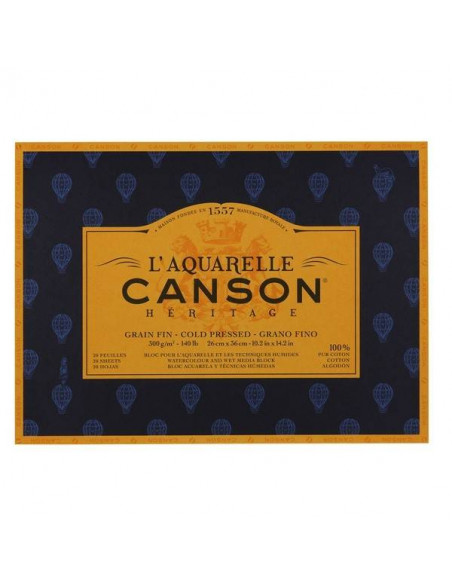 BLOCK DE ACUARELAS CANSON HERITAGE 300GR 26X36CM