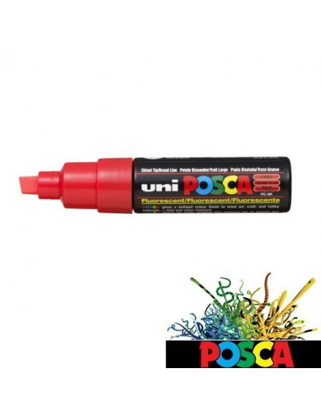 ROTULADOR POSCA DE 8MM A BASE DE AGUA COLOR FLUORESCENTE ROJO