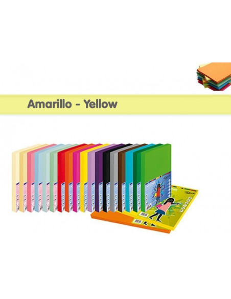 CARTULINA A4 - 250 HOJAS COLOR AMARILLO - YELLOW