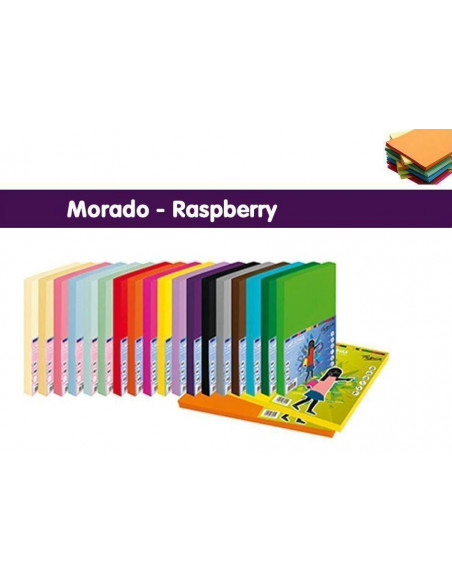 CARTULINA A4 - 250 HOJAS COLOR MORADO - RASPBERRY