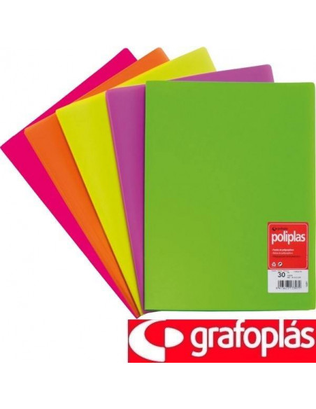 CARPETA CON 30 FUNDAS FOLIO AMARILLO FLUORESCENTE