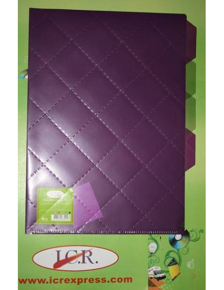 DOSIER DE FUNDAS A4 CON 4 PESTAÑAS EN POLIPROPILENO EN COLOR PURPURA