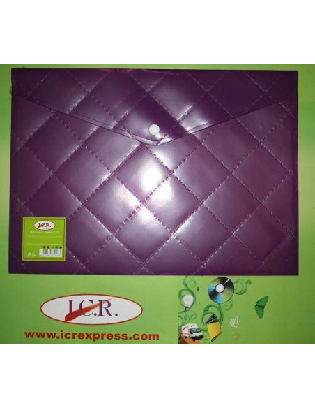 SOBRE DE PLASTICO A4 PARA DOCUMENTOS HIGH QUALITY CON BOTON COLOR PURPURA