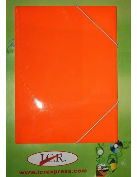 CARPETA A4 DE POLIPROPILENO RAYADO CON GOMAS HIGH QUALITY COLOR NARANJA