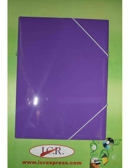 CARPETA A4 DE POLIPROPILENO RAYADO CON GOMAS HIGH QUALITY COLOR PURPURA