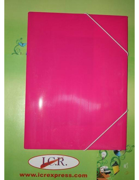 CARPETA A4 DE POLIPROPILENO RAYADO CON GOMAS HIGH QUALITY COLOR ROSA