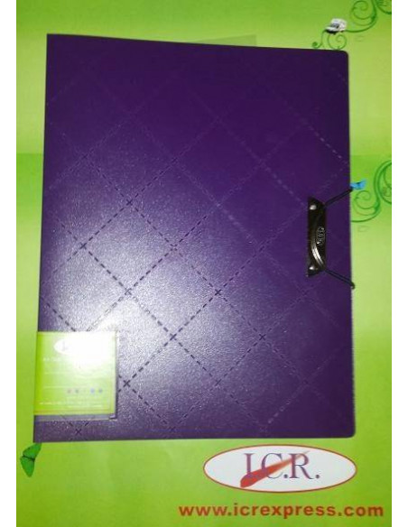CARPETA CON 40 FUNDAS CON BROCHE METALICO Y DISEÑO EN ROMBOS DE COLOR PURPURA