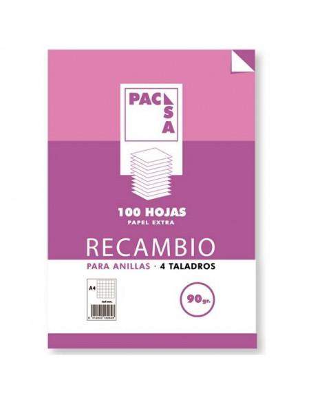 RECAMBIO A4 MULTIANILLAS LISO 90G 4 TALADROS