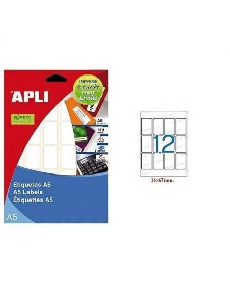 ETIQUETA LASER AUTOADHESIVA APLI DE 34X67 MM FORMATO A5
