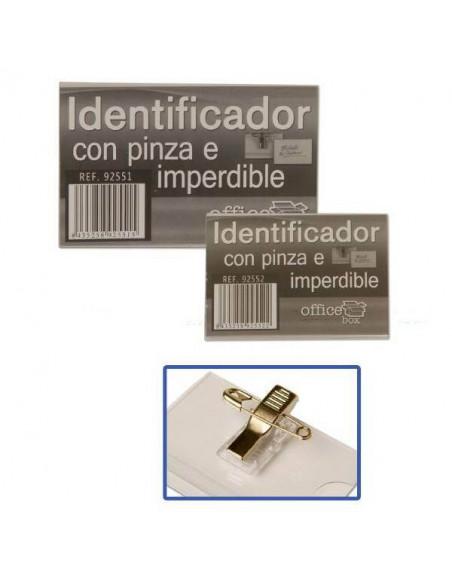 IDENTIFICADOR CON PINZA E IMPERDIBLE EN FUNDA RIGIDA 43X62 MM