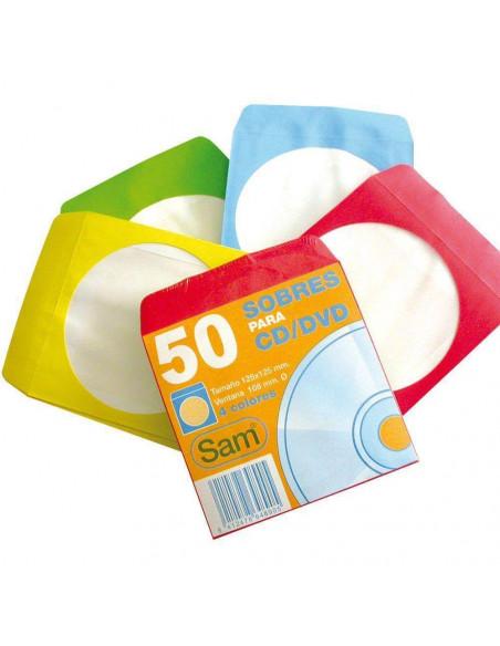 PAQUETE DE 50 SOBRES DE COLORES PARA CD