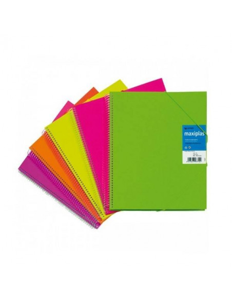 CARPETA CON FUNDAS COLOR AMARILLO FLUORESCENTE MAXIPLAS