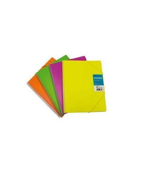 CARPETA CON FUNDAS MAXIPLAS COLOR ROSA FLUORESCENTE